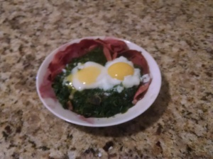 spinach eggs bacon
